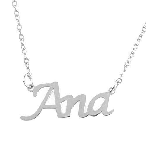 Kigu Ana Collar con Nombre - Tono Plateado Personalizado - Cadena Ajustable