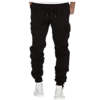 Jogger Cargo Men's Chino Jeans Casual Trouser Outdoor Working Pants Black