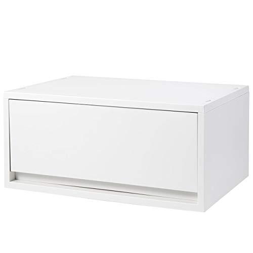 Muji Polypropylen Wide Deep Storage Case, 37 cm Breite x 26 cm Tiefe x 17,5 cm Höhe, Weiß / Grau