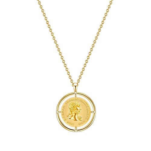 Glanzstücke München Damen-Kette Münze Sterling Silber 925 gelbvergoldet Julius Caesar - Münzkette für Frauen römisch in Gelbgold-Farben