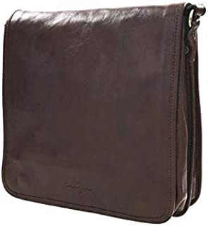 Kaizer KZ1347AT Cavalry Messenger Bag for Men - Leather, Dark Brown