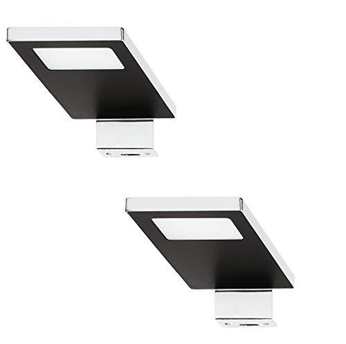 Gedotec LED Anbauleuchte Spiegel-Leuchte 12V Schrankleuchte 2033 Stahl verchromt - schwarz | LED-Leuchte kaltweiß 4000 K | Aufbauleuchte IP44 geprüft | 2 Stück - Möbelleuchte Bad-Schrank zum Schrauben