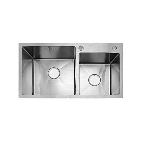 2 Lavabo Del Fregadero De La Cocina, R15 Bañera Con Drenaje Cesta Dispensador De Jabón Del Grifo, Agua De Alimentación De Tuberías