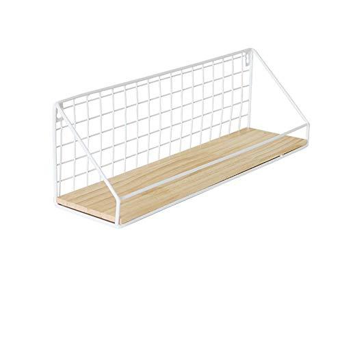 Fablcrew. Cesta de almacenamiento colgante para especias de alambre metálico, estanterías flotantes de pared de madera y metal, decoración para salón, dormitorio, baño o cocina
