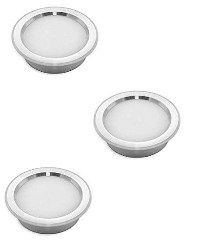 3 focos LED empotrables slim 3 W luz natural 4000 K muebles estantes campana