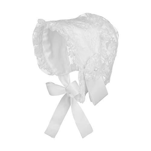 Fenical - Sombrero de encaje para bebé, para bautizo, para bebés, princesa, sombrero de sol, flores, capó de motor, foto, accesorios de 0 – 2 años Blanco M