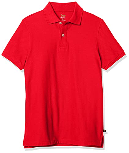 Lee Uniforms Men's Short Sleeve Uniforms Polo, Red, Medium
