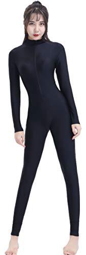 Speerise Adult Spandex Long Sleeve Turtleneck Unitard Bodysuit, Black, S