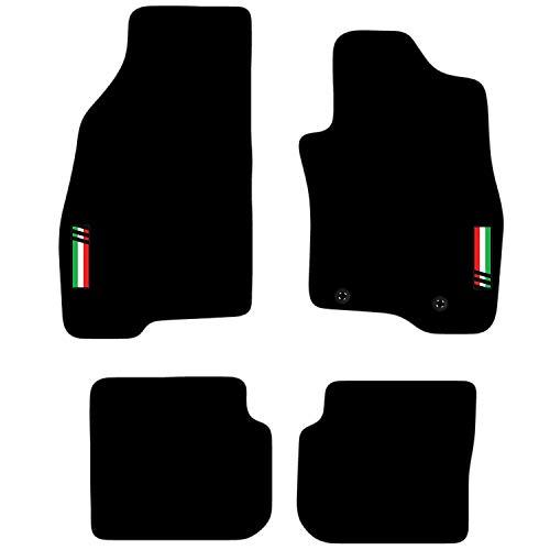 Carsio L136-CARP-CUT-2042-(58 x 2) Alfombras a Medida para Coche con Logo para Adaptarse - Fiat Punto EVO 2010 a 2012 y Abarth, Color Negro