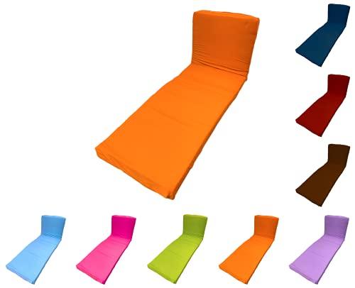 TIENDA EURASIA® Cojín para Tumbona Exterior de Jardín - Colores Surtidos - Colchoneta 180 x 55 x 8 cm - Funda de Tela y Relleno Acolchado de Fibra (Naranja)