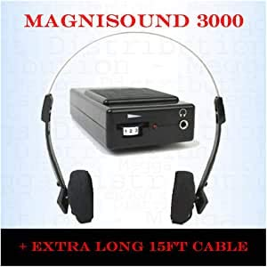 Magnisound 3000 Amplifier Device, Personal Sound/Voice Enhancer, Hearing Aid Listening Assistance Megaphone, TV/Audio Booster - with 15Ft Cable Included (Black) by Magnisound