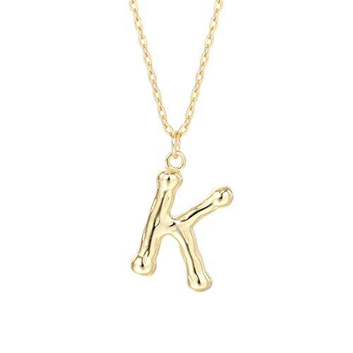 ShSnnwrl Colgante Collar con Colgante de Letra Inicial geométrica Simple de Plata de Ley 925, Accesorios de joyería con recordato