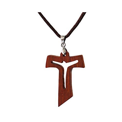 Collar Colgante de Cruz de Jesús en Secoya Natural Tallado Para Hombres Mujeres Niños Niña Regalo Collar de Madera de Madera