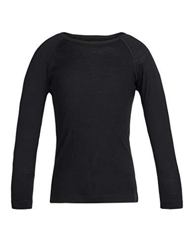 Icebreaker Merino Oasis Ls Crewe T-Shirt 200 pour Enfant, Enfant, Haut pour Couche inférieure, 10450100110, Noir, 36