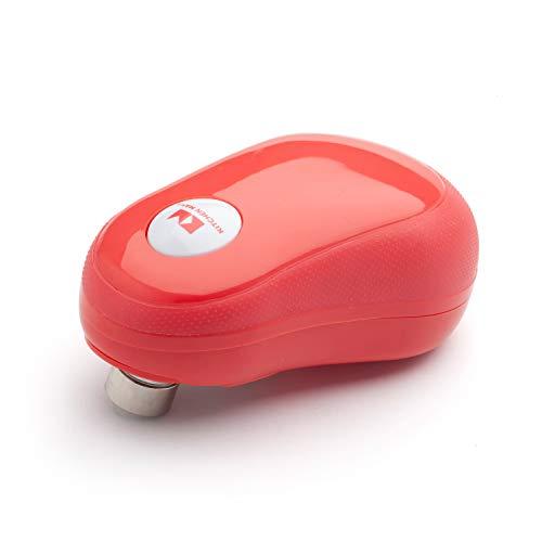 Kitchen Mama One -Touch Apriscatole Elettrico - Apri Lattine Automatico, Bordi Lisci e Sicuri, Ergonomico Facile Impiego Mani Sofferenti Artrosi, Design Compatto Senza Fili (Rosso)