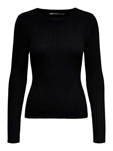 ONLY Damen ONLNATALIA L/S Rib KNT NOOS Pullover, Black, Medium (Herstellergröße: M)