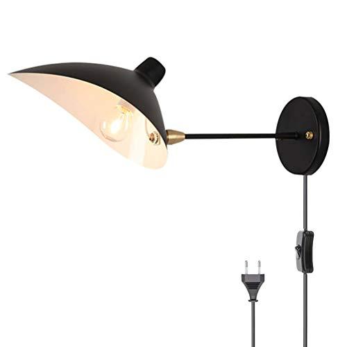 Lámpara de pared interior retro con interruptor lámpara de noche ligero de pared sala de estar lámparas de lectura de pared, brazo de metal ajustable cable de 1,8 m con enchufe,dormitorio E27 negro