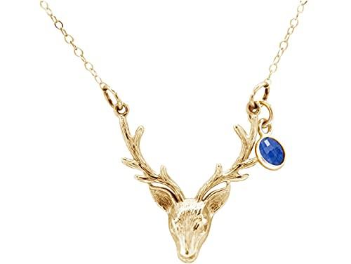 Gemshine Alpin Hirsch Elch Geweih Halskette mit SAPHIR in 925 Silber, vergoldet oder rose zum Dirndl oder Tracht. Nachhaltig, Fair Trade, Ethisch - Made in Spain, Metall Farbe:Silber vergoldet