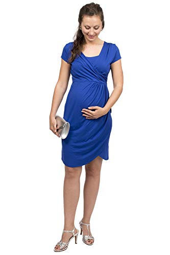 Viva la Mama - Schwangerschaftskleid Sommer festlich Abendkleid für Schwangere Stillmode Stillkleid kurz elegant - Samsara - Kobaltblau - M