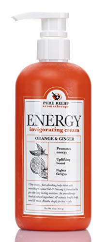 Orange-and-Ginger Energy Body Cream Aromatherapy Body Lotion with Coconut Oil, Ginseng Oil, Shea Butter Hydrating Natural Extracts Moisturize & Smooth Dry Skin by Pure Relief, 16 Oz.