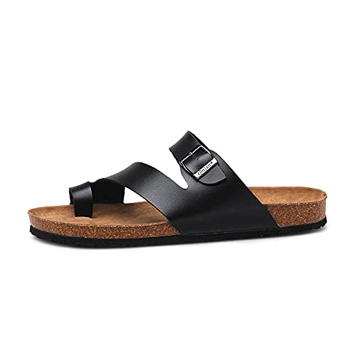COQUI Zapatos de Ducha,Pareja Zapatillas de Corcho Clips de Verano Hombres pie Antideslizante Playa Fresco Zapatillas versión Coreana de la Tendencia Sandalias Casuales-Negro_35