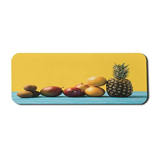 Exotisches blaues Computer-Mauspad, minimalistisch inspiriertes Stilbild von tropischen Früchten auf einem Holztisch, rechteckiger rutschfester Gummi-Mauspad großer Senf und mehrfarbig