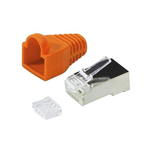 Faconet® 20er Pack RJ45 Netzwerkstecker Crimpstecker CAT 6 STP mit Einfädelhilfe und Knickschutz in Orange geschirmt Steckverbinder Crimp Stecker LAN Patchkabel Netzwerkkabel CAT6 cat.7 RJ 45