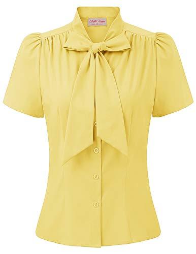 Belle Poque elegant Vintage Retro Gelb Oberteil Damen Kurzarm Tops Sommer Casual Hemd L BP819-4