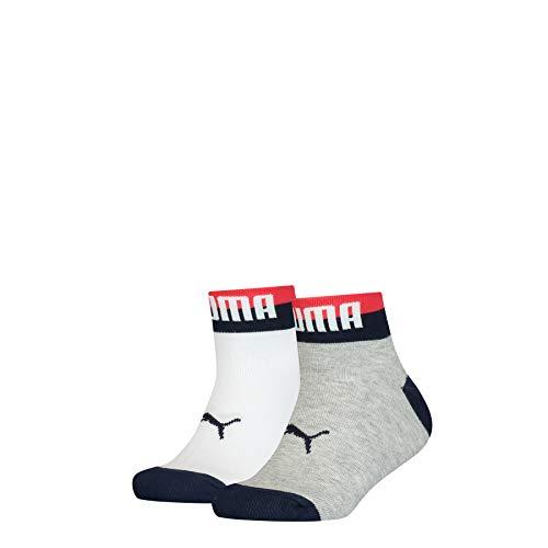 PUMA Unisex Kinder Puma Kids' Seasonal Quarter (2 Pack) Socks, White Grey White, 31-34 EU