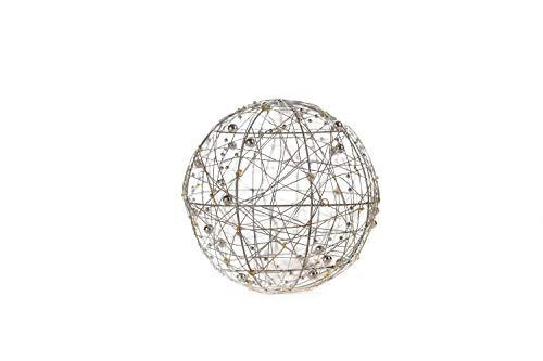 DARO DEKO Lichter-Kugel Ø 20cm mit 40 LED aus Draht und Perlenkette
