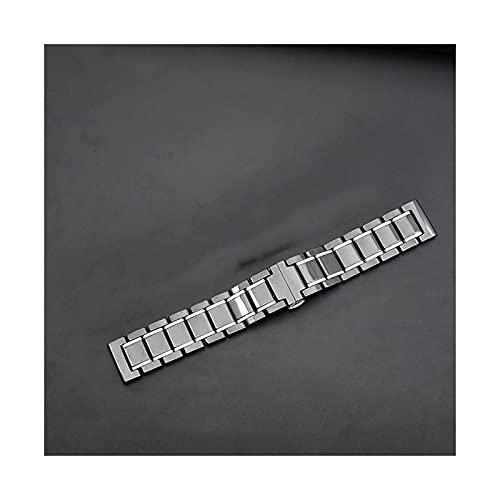 Correa de reloj de acero inoxidable de cerámica de cinco cuentas Reloj inteligente de cerámica con hebilla de acero inoxidable Pulsera de correa de repuesto de liberación rápida (Color: Negro, Ta