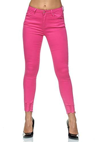 Elara Damen Jeans Stretch High Waist Skinny Slim Chunkyrayan J785-26 Pink-44 (2XL)