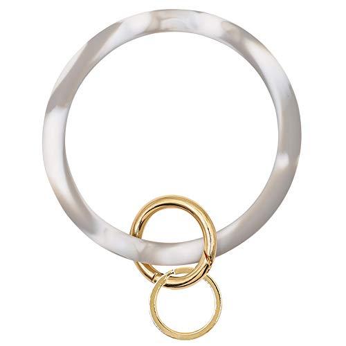 Mwfus Bangle Key Ring Chain Bracelet, Round Silicone Wristlet Keychain Holder for Women Girls(Marble Gray)