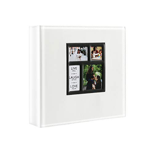Lanpn Photo Album Self Adhesive, Sticky Photo Picture Albums Ring-Binder with Leather Cover and Magnetic Refillable Pages, Holds 3x5, 4x6, 5x7, 6x8, 8x10 Photos (30 Sheets / 60 Pages, White)