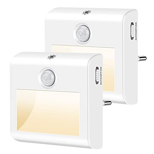 Nachtlicht Steckdose[2 Stück], Nachtlicht kinder stufenlos dimmbare,LED Nachtlicht Baby mit bewegungsmelder Dämmerungssensor, 3500K Warmweiß nachtlampe für Schlafzimmer, Treppenhaus, Flur
