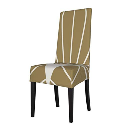 LESIF Fundas elásticas para silla de comedor, serie de diamantes, redondo, color blanco sobre oro, funda protectora de silla, extraíble, lavable, suave, para cocina, hogar, restaurante