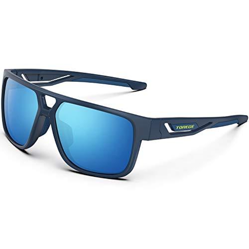 TOREGE Polarized Sports Sunglasses For Man Women Cycling Running Fishing Golf TR90 Unbreakable Frame TR14 lron Bone (Matte Purple&Purple&Blue Lens)