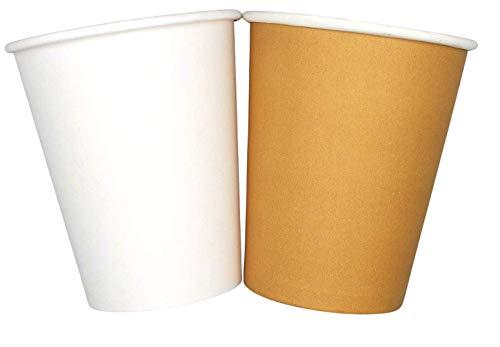 1000/200/100/50 Bicchieri in Carta 240ml Riciclabili Bianco Monouso Biodegradabili Compostabili Premium Quality Acqua caffè Thè Cioccolata Calda Cocktail Bevande Fredde Ecologico