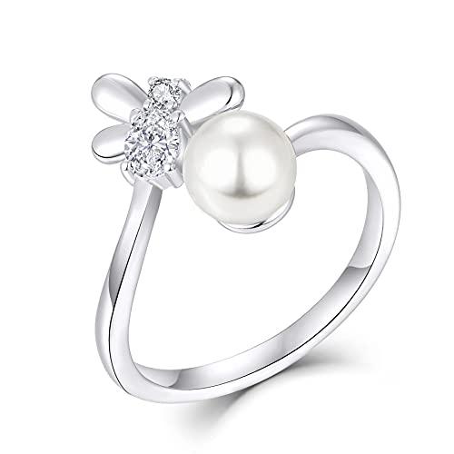 FJ Anillo de mujer con perla de 6 mm, plata de ley 925, abeja de miel, animal abierto, ajustable, joya de regalo para mujeres y niñas,