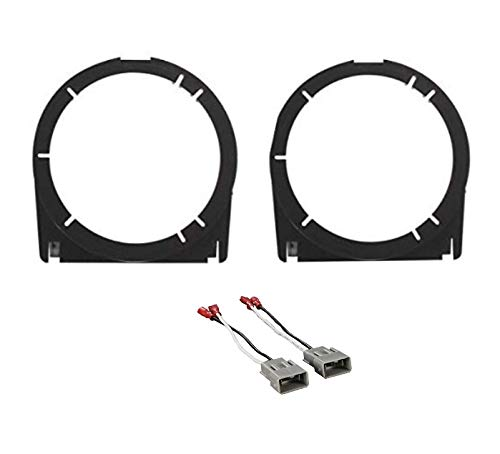 ASC Audio 6+-Inch 6' 6.5' 5' 5.25' Car Stereo Front Door Speaker Install Spacer Mount Plate Bracket Adapters and Speaker Wire Harness Connectors Combo for 2002-2006 Acura RSX, 2003-2007 Honda Accord