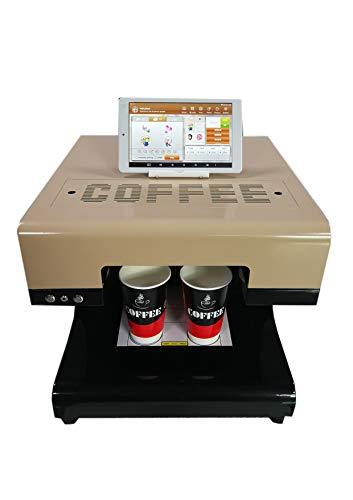 Mokka 3D Kaffee Drucker, 2019 Upgrade 4 Tassen Latte Kuchen Selfie Art Drucker voll automatische essbare Tinte Printe (Braun)