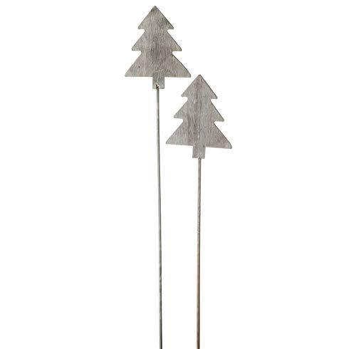matches21 plantensteker bomen hout bloemensteker houten steker kerst winter tuindecoratie grijs set van 2 stuks 8 x 10 – 51 cm