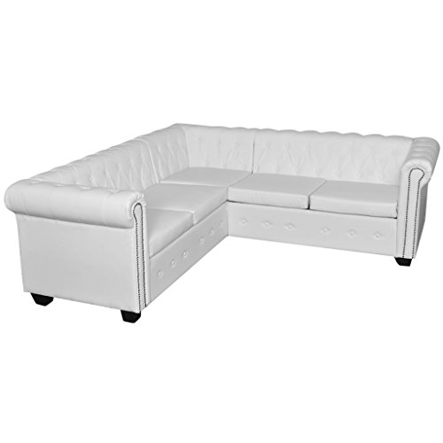 Canapé d'angle 5 places Blanc Cuir Luxe Chesterfield Confort