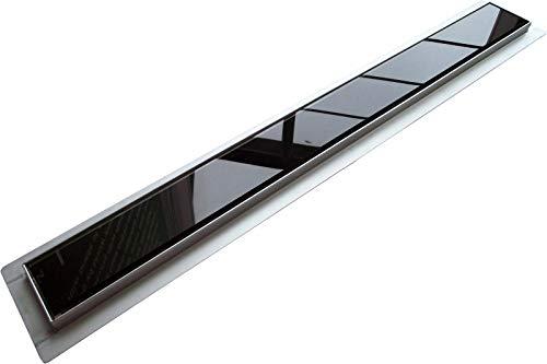 Edelstahl Duschrinne FlexGL01 für Duschkabine inkl. Ablaufblende Glas schwarz - Länge wählbar, Länge Duschrinne:800mm
