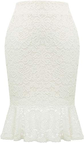 Women Casual Lace Bodycon Career Office Pencil Skirt Knee Length White XL