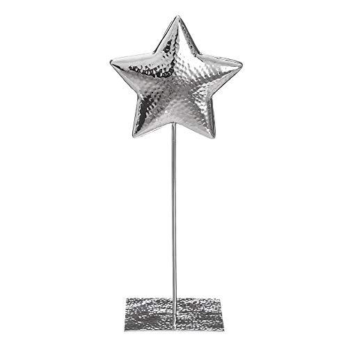 Figura de Estrella de Metal Plateada Moderna para salón Christmas - LOLAhome