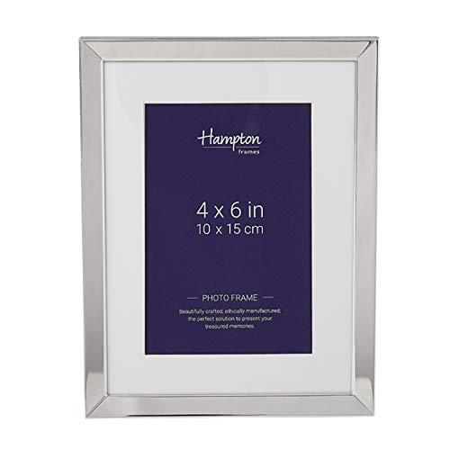 Hampton Frames Bilderrahmen, mit Schrägschnitt-Passepartout, versilbert, Silber, 4x6 (10x15cm)