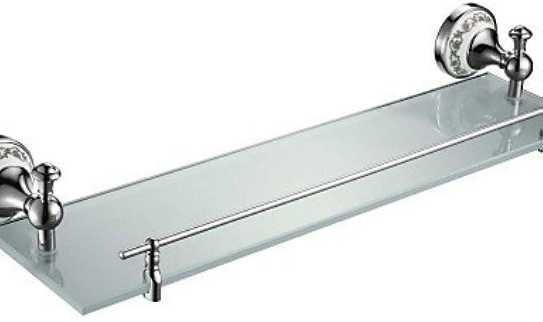 LINA@ Contemporary Chrome Finish Glass Shelf With Rail