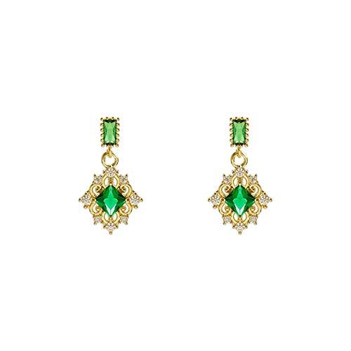 Pendientes de botón de cristal geométrico clásico para mujer, pendientes de cristal verde de circonita, joyería de diseñador de lujo para accesorios de mujer