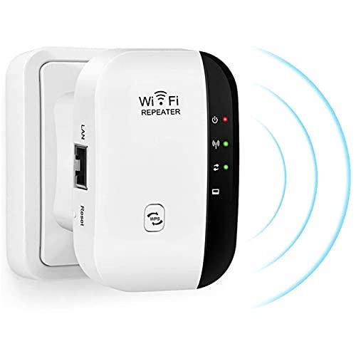 ZIEM Extensor de Wi-Fi Amplificador de señal Repetidor de Rango único de Wi-Fi hasta 300 Mbps Mejora la Cobertura inalámbrica Punto de Acceso Antenas integradas Puerto LAN